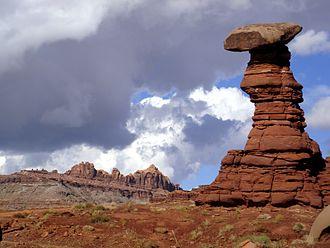 Mushroom rock - A mushroom rock west of Moab, Utah