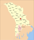 Map of Moldova highlighting Chișinău