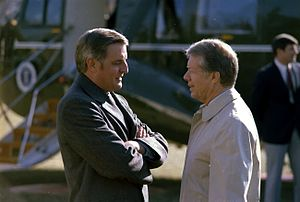 Walter Mondale - Walter Mondale and Jimmy Carter, in front of Presidential helicopter Marine One in January 1979.