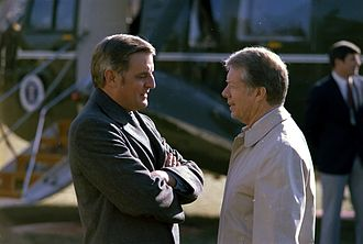 Walter Mondale - Walter Mondale and Jimmy Carter, in front of Presidential helicopter Marine One in January 1979