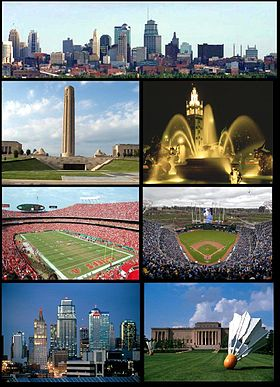 Din stânga sus, Downtown Kansas City skyline, the Liberty Memorial, the Country Club Plaza, Arrowhead Stadium, Kauffman Stadium, Kansas City skyline, the Nelson Atkins Museum
