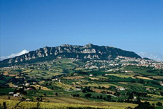 City of San Marino - Monte Titano and three fortresses on top of it can be seen from many kilometers away