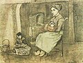Mother at the Cradle and Child Sitting on the Floor f1070 jh74.jpg