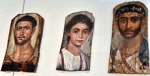 Römische Mumienporträts aus Ägypten. Mummy portraits, Roman Egypt. From Faiyum, Egypt. Altes Museum, Berlin, Germany