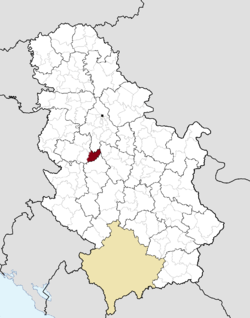 Location of the municipality of Ljig within Serbia