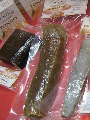 Musciame - Italian musciame di tonno on display at the Fancy Food Show in the United States in 2007