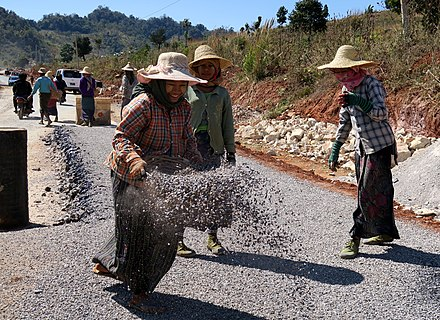Road construction by women in Myanmar, (2019). MyanmarRoadConstruction1.jpg