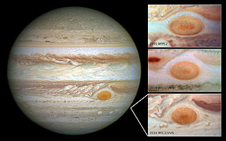 Jupiter - Great Red Spot is decreasing in size (May 15, 2014).