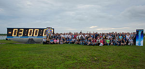 NASA Social - Group picture in front of Countdown clock of STS-135 Tweetup participants