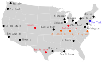 ABA–NBA merger - Cities that hosted NBA (black) and ABA (red) teams at the time of the merger in 1976. The ABA teams in Indianapolis, San Antonio, Denver, and New York (which also hosted the Knicks of the NBA prior to merger) joined the NBA, while the remaining ABA teams went defunct.