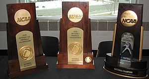 NCAA Division I Football Championship - Appalachian State's National Championship trophies showing the differences between 2005 (I-AA), 2006 (FCS), and 2007 (FCS).
