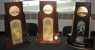 2007 NCAA Division I FCS football season - 2007 FCS National Championship trophy (right).