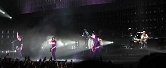 Nine Inch Nails live performances - Left to right: Justin Meldal-Johnsen, Trent Reznor, Alessandro Cortini, Robin Finck, and Josh Freese touring for The Slip.