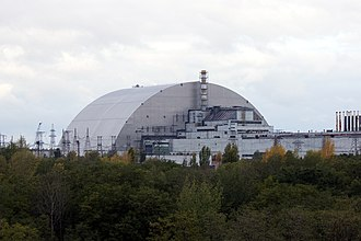 Chernobyl New Safe Confinement - The New Safe Confinement at Chernobyl Nuclear Power Plant in its final position over the damaged reactor 4 in October 2017