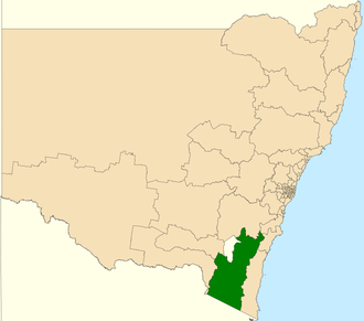 Electoral district of Monaro - Location in New South Wales