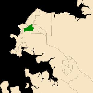 Electoral division of Johnston - Location of Johnston in the Darwin/Palmerston area