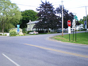 New York State Route 21 - The junction of Lake Road and Hamilton Street in Pultneyville, which was NY 21's northern terminus from 1930 to 1980.