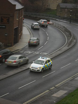 North Yorkshire Police - A North Yorkshire Police car responds to an emergency call in York