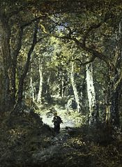 Forest Interior with Wood Gatherer