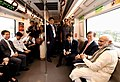 Narendra Modi and the President of the Republic of South Korea, Mr. Moon Jae-in take Delhi Metro ride on the way to inaugurate the Samsung manufacturing plant, World's Largest Mobile Factory, in Noida, Uttar Pradesh.JPG
