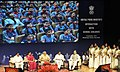 Narendra Modi at an interaction with school children on eve of the Teachers' Day, at Manekshaw Centre, in New Delhi. The Union Minister for Human Resource Development, Smt. Smriti Irani.jpg