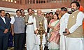 Narendra Modi lighting the lamp to inaugurate an exhibition on making of the Constitution by the Constituent Assembly, at Parliament Library, in New Delhi. The Speaker, Lok Sabha, Smt. Sumitra Mahajan.jpg