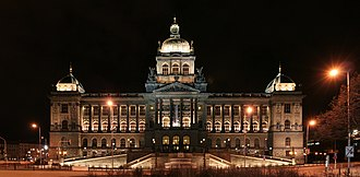National Museum (Prague) - Main building of the National Museum at night