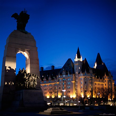 The National War Memorial and Chateau Laurier are both designated as National Historic Site of Canada National War Memorial, Ottawa, ON.jpg