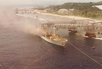 Phosphate mining in Nauru - A ship being loaded with phosphate in Aiwo District