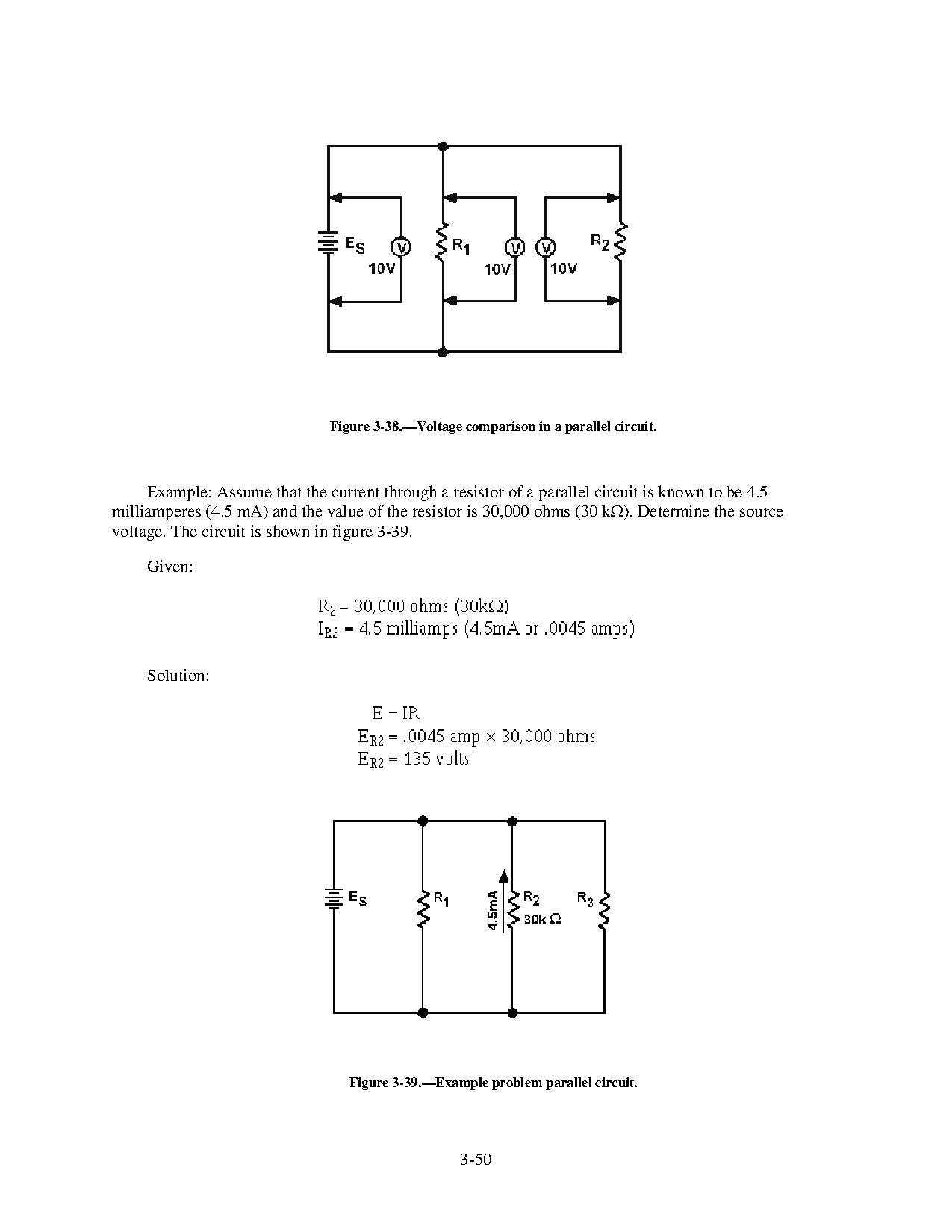 Voltage Figure 3 38 Comparison In A Parallel Circuit Attlsnavy Electricity And Electronics Training Series Introduction To Matter Energy Direct Currentpdf