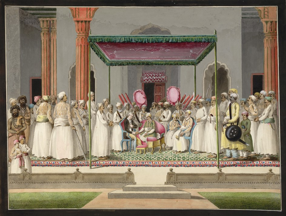 Nawab Mubarak al-Daula of Murshidabad (1770-93) enthroned in durbar