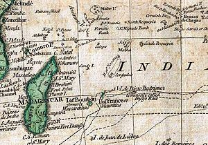 Chagos Archipelago - The Chagos as Bassas de Chagas on 1794 Samuel Dunn map section