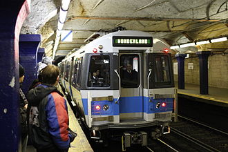 State (MBTA station) - Eastbound Blue Line train at State in 2008