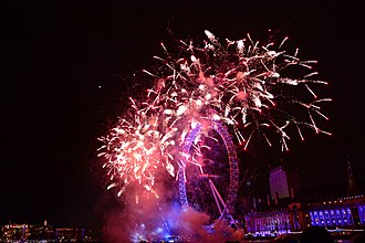 New Year's Day - Fireworks in London on New Year's Day at the stroke of midnight.