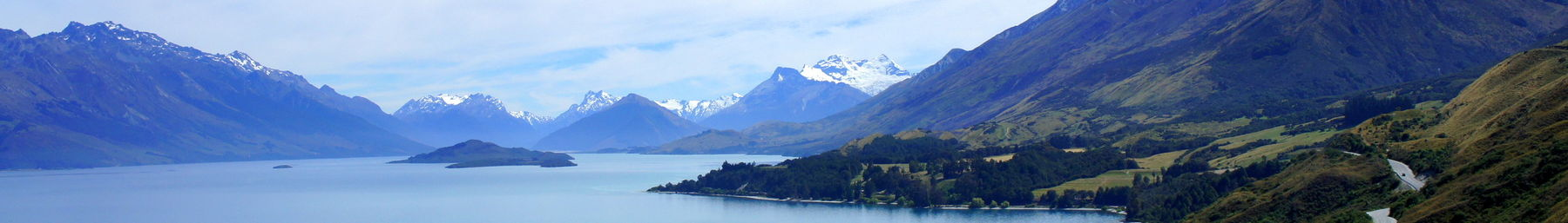 View toward Glenorchy on the road from Queenstown that runs along Lake Wakatipu