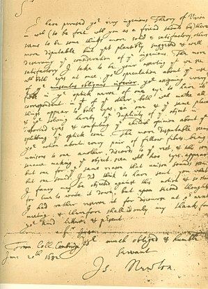 "Isaac Newton - Facsimile of a 1682 letter from Isaac Newton to Dr William Briggs, commenting on Briggs' ""A New Theory of Vision"""