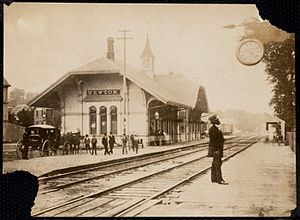 Newton Corner (MBTA station) - Early photograph of the pre-1880s depot
