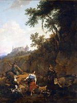 Nicolaes Berchem's painting of same landscape with castle