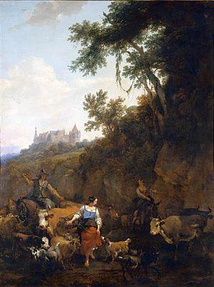 Nicolaes Pieterszoon Berchem - Image: Nicolaes Berchem Landscape with Castle Bentheim