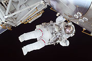 Nicole Stott participates in the STS-128 mission's first spacewalk