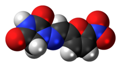 Ball-and-stick model of the nitrofurantoin molecule