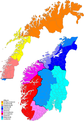 The map shows the division of the Norwegian dialects within the main groups. Norske Malgreiner.png