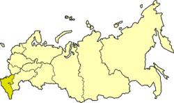 North Caucasus Economic Region on the map of Russia