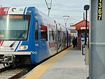 Northbound TRAX Red Line at 4800 W Old Bingham Hwy station, Apr 16.jpg