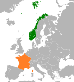 Map indicating locations of Norway and France