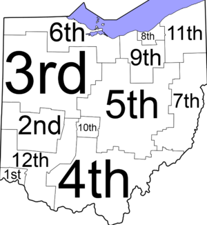 Ohio District Courts of Appeals - Judicial districts map