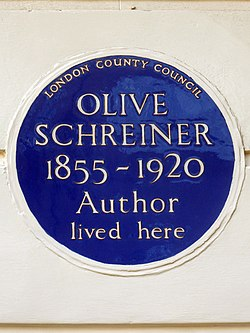Olive schreiner 1855 1920 author lived here