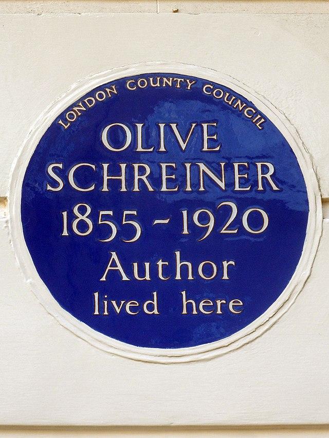 Olive Schreiner blue plaque - Olive Schreiner 1855-1920 author lived here