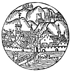 Heidelberg Castle - The earliest known depiction of the castle, from Sebastian Münster's Kalendarium Hebraicum published in 1527 (detail).