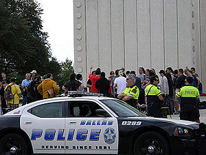 Occupy movement in the United States - Protesters and police during Occupy Dallas